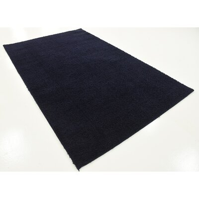 Wilfred Solid Shag Midnight Blue Area Rug Rug Size: 5 x 8
