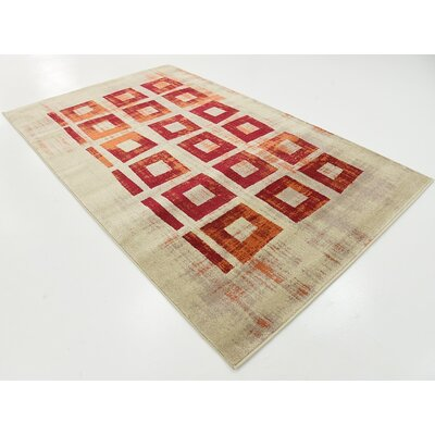 Choncey Red Area Rug Rug Size: 5 x 8