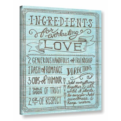 'Ingredients for Life III' Textual Art on Wrapped Canvas Size: 18