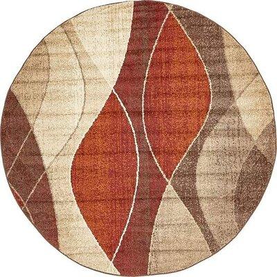 Christie Red/Beige Area Rug Rug Size: Round 33