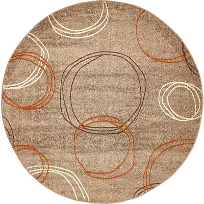 Bryan Light Brown Area Rug Rug Size: Round 8