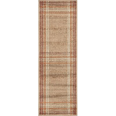 Bryan Light Brown Plaid Area Rug Rug Size: Runner 2 x 6