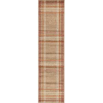 Bryan Light Brown Plaid Area Rug Rug Size: Runner 26 x 10