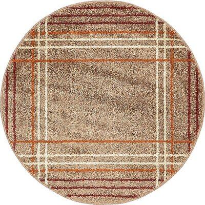 Bryan Light Brown Plaid Area Rug Rug Size: Round 3'3