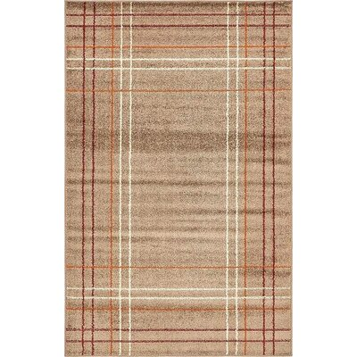 Bryan Light Brown Plaid Area Rug Rug Size: 5 x 8
