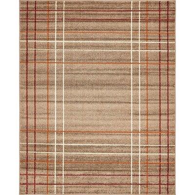 Bryan Light Brown Plaid Area Rug Rug Size: Rectangle 8 x 10
