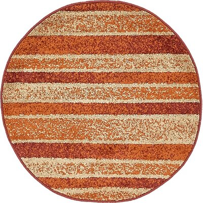 Christie Rust Red Area Rug Rug Size: Round 33