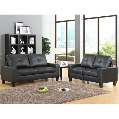 Winefred 2 Piece Living Room Set Upholstery: Black