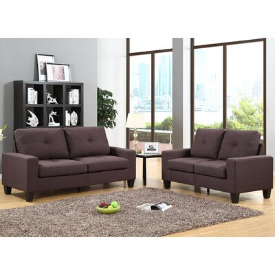 Winefred Sofa and Loveseat Set Upholstery: Chocolate