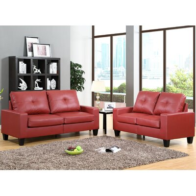 Winefred 2 Piece Living Room Set Upholstery: Red