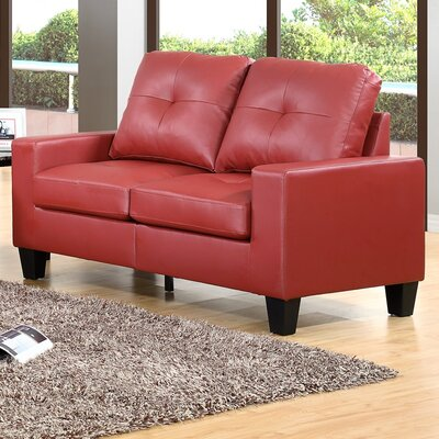 Winefred Loveseat Upholstery Color: Red