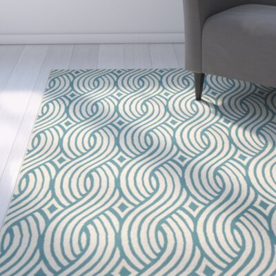 Lucia Aqua/Gray Indoor/Outdoor Area Rug Rug Size: Runner 23 x 77