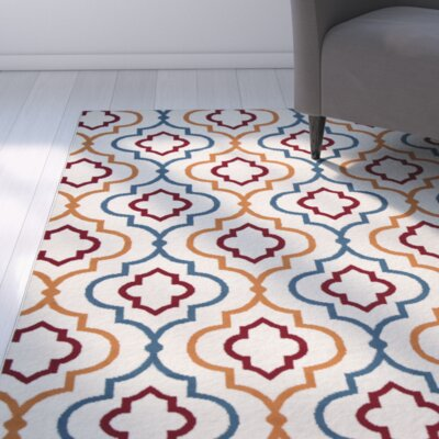 Lucia Ivory/Orange/Green Indoor/Outdoor Area Rug Rug Size: 33 x 53