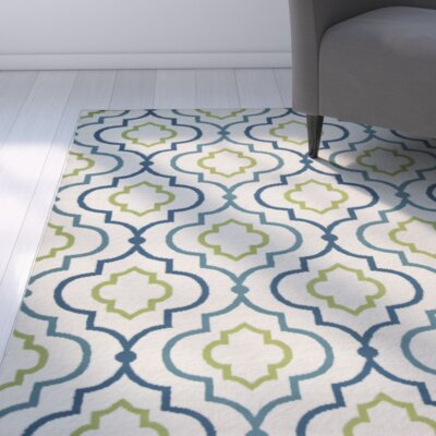 Lucia Ivory/Green/Navy Blue Indoor/Outdoor Area Rug Rug Size: Runner 23 x 77