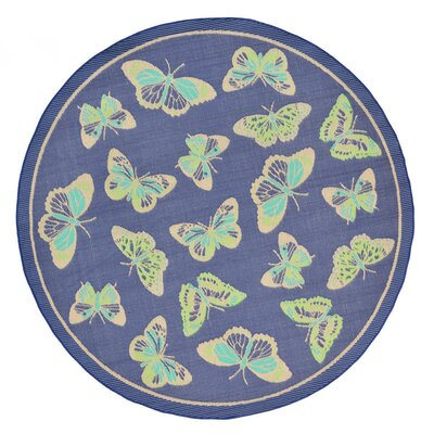 Janette Blue Indoor/Outdoor Area Rug Rug Size: Round 710