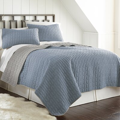 Jan 3 Piece Reversible Coverlet Set Color: Denim/Silver, Size: King