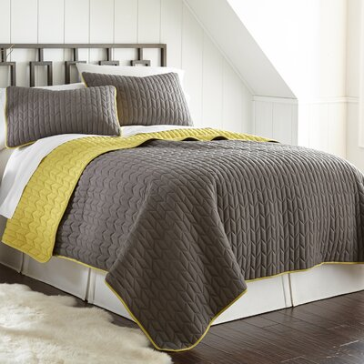 Jan 3 Piece Reversible Coverlet Set Color: Steel Gray/Bamboo, Size: Queen