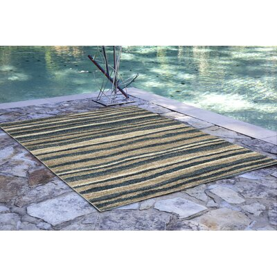 Deray Waves Blue/Beige Indoor/Outdoor Area Rug Rug Size: Runner 111 x 76