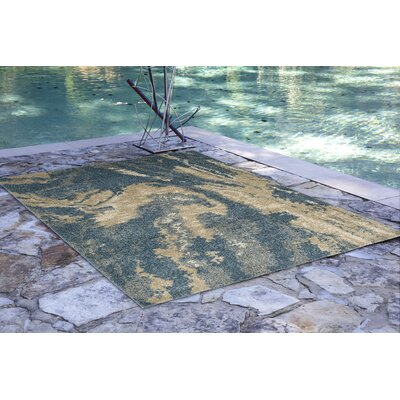 Deray River Blue/Beige Indoor/Outdoor Area Rug Rug Size: Runner 111 x 76
