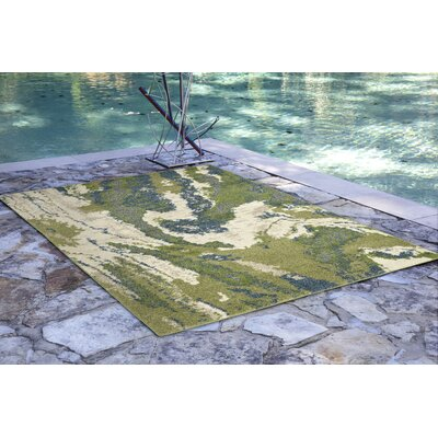 Deray River Green/Beige Indoor/Outdoor Area Rug Rug Size: 33 x 411