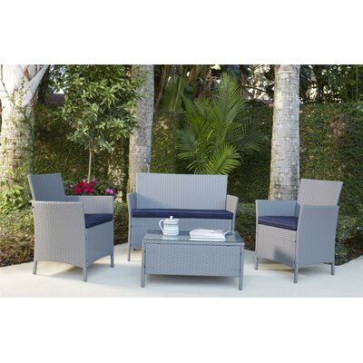 Amber 4 Piece Seating Group with Cushions Finish: Gray