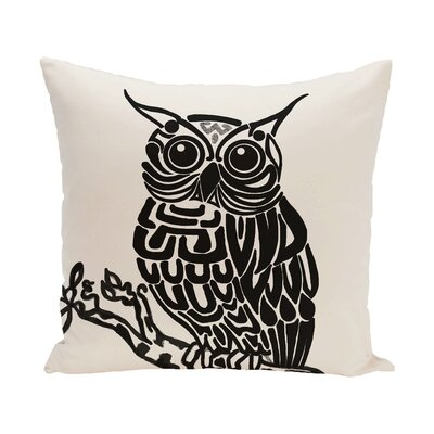 Raegan Hootie Bird Print Throw Pillow Size: 18 H x 18 W, Color: Off White - Black