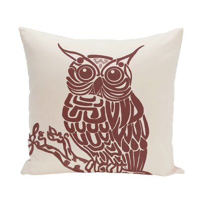 Raegan Hootie Bird Print Throw Pillow Size: 26 H x 26 W, Color: Off White - Rust