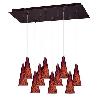 Kiara 10-Light RapidJack Pendant and Canopy Shade Color: Amber, Finish: Bronze