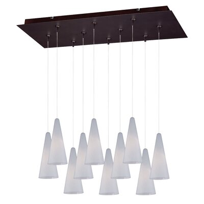 Kiara 10-Light RapidJack Pendant and Canopy Finish: Bronze, Shade Color: White