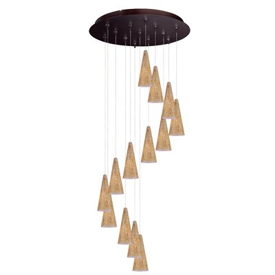 Kiara 13-Light Cascade Pendant Finish: Bronze, Shade Color: Gold