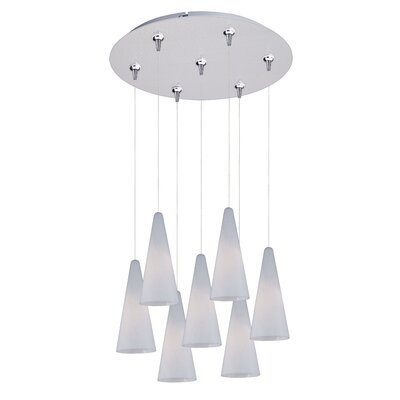 Kiara 7-Light RapidJack Pendant and Canopy Shade Color: White, Finish: Satin Nickel