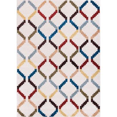 Dax Moroccan Trellis White Modern Area Rug Rug Size: 33 x 47