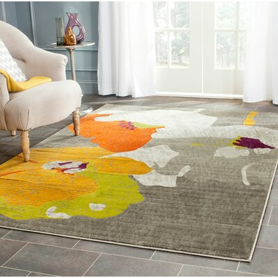 Nanette Dark Grey / Ivory Area Rug Rug Size: Rectangle 6 x 9