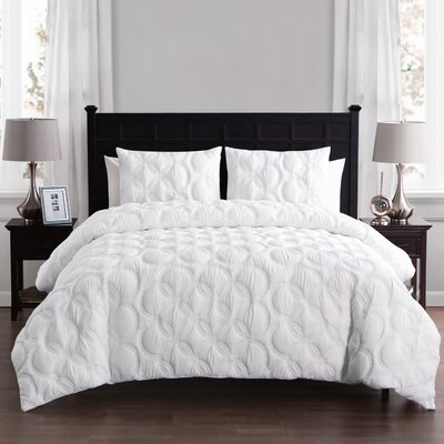 Clyde Duvet Set Size: Queen, Color: White