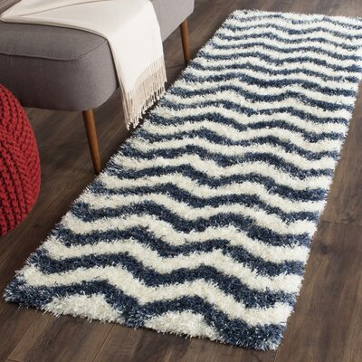 Kimberley Ivory/Blue Area Rug Rug Size: Runner 23 x 5