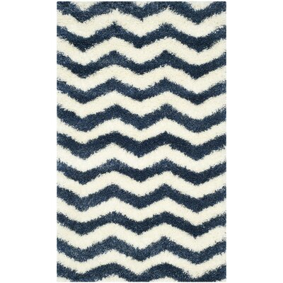 Kimberley Ivory/Blue Area Rug Rug Size: Rectangle 86 x 12