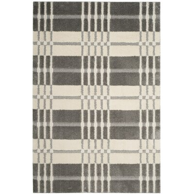 Youngs Cream/Gray Area Rug Rug Size: Round 67