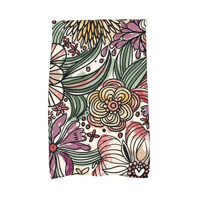 Zentangle Floral Print Hand Towel Color: Purple