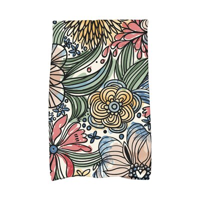 Zentangle Floral Print Hand Towel Color: Red