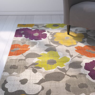 Nanette Grey / Yellow Floral and Plant Rug Rug Size: Runner 24 x 67