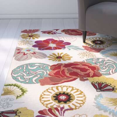 Hayes Ivory/Red Outdoor Area Rug Rug Size: Square 6