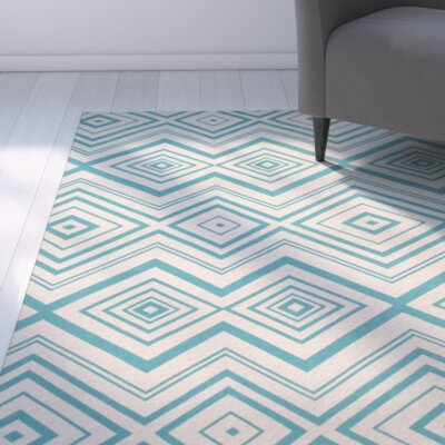 Charla Ivory & Light Teal Area Rug Rug Size: Square 5