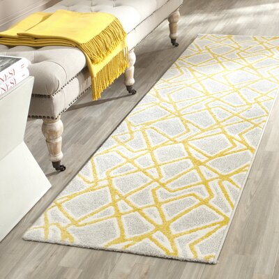Nanette Light Gray / Yellow Area Rug Rug Size: Runner 24 x 67