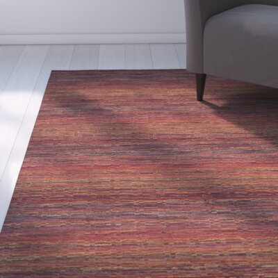Sherri Red Stripe Area Rug Rug Size: Square 6