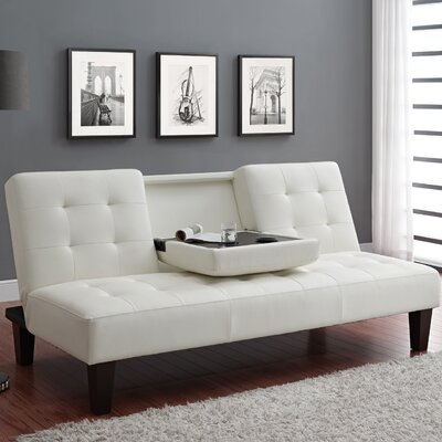 Marcy Convertible Sofa Upholstery: White with Medium Brown