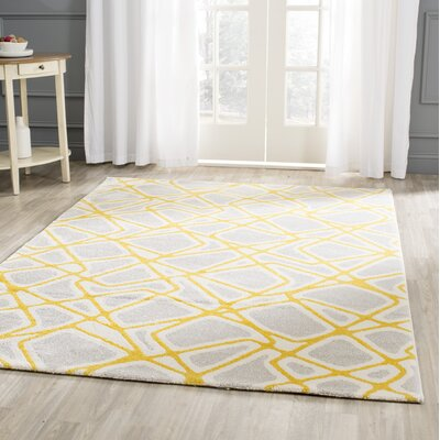 Nanette Light Gray / Yellow Area Rug Rug Size: Rectangle 53 x 77