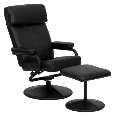 Faith Leather Recliner and Ottoman Upholstery: Black
