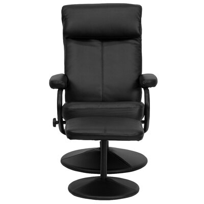 Faith Manual Swivel Recliner with Ottoman Upholstery: Black