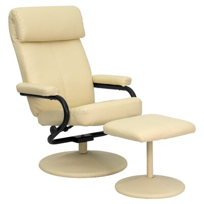 Faith Leather Recliner and Ottoman Upholstery: Cream