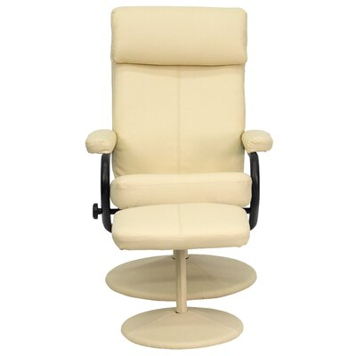 Faith Manual Swivel Recliner with Ottoman Upholstery: Cream